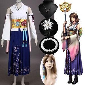 Image 1 - Final Fantasy X Yuna Cosplay Costume + Collana + Braccialetto + Anello + orecchino Costumi di Halloween per Le Donne Costumi Per Adulti personalizzato di Qualsiasi Dimensione