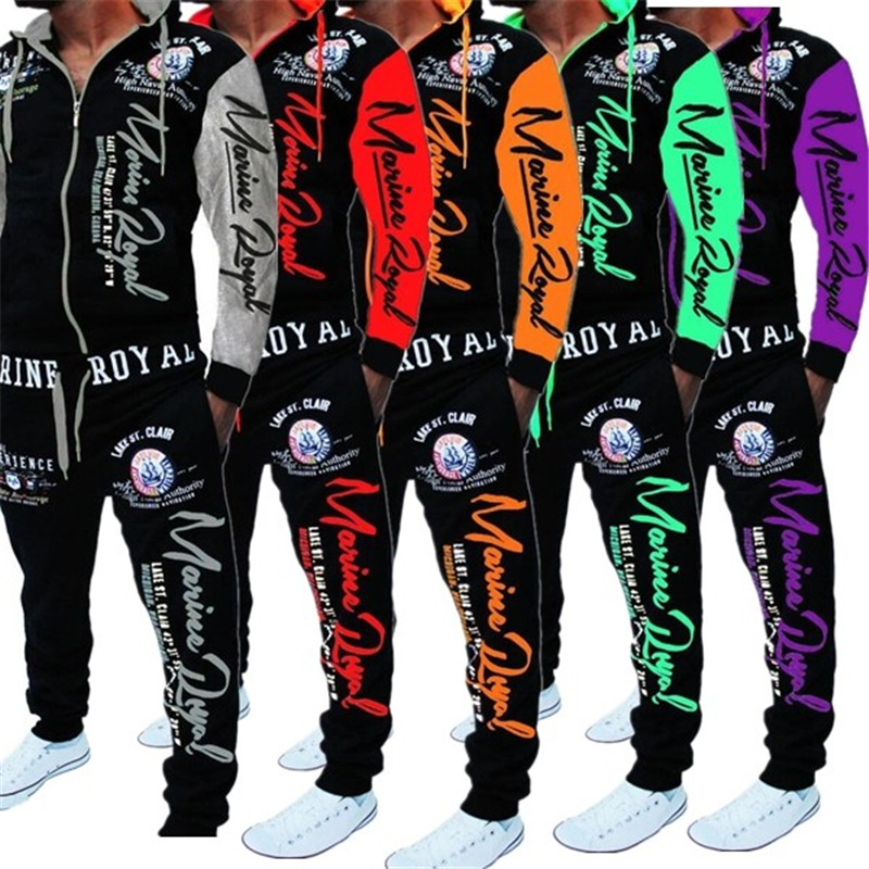 ZOGAA Mens Matching Set Two Piece Set Men Sweatsuit Casual Sportswear Hoodies Sweatshirt And Pants Sets Letter Printed Tracksuit