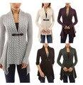 2017 Puxar Microfibra Spandex Mulheres Formais Blusas E Cardigans de Algodão Real 2017 Nova Primavera Camisola Tamanho Grande Cardigan de Malha