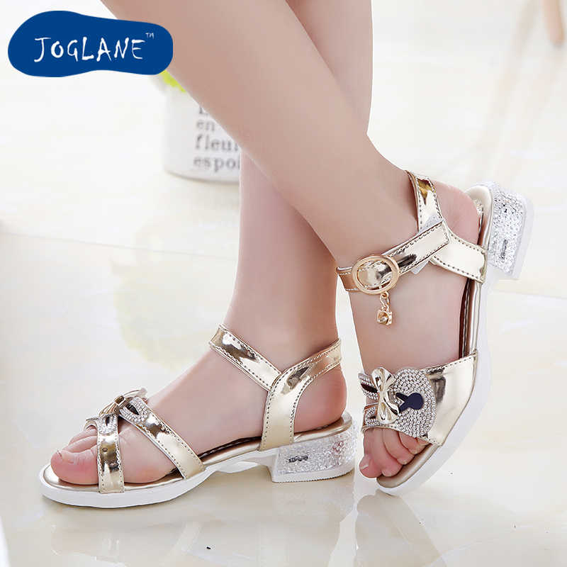 5e5033bc9a67 Girl Sandals 2019 Spring Children Princess Glitter Sandals Kids Girls  Square Low-heeled Dress Party
