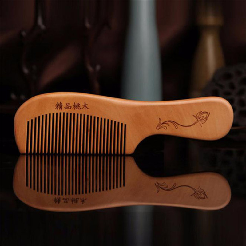 1PC Anti-static Head Sandalwood Wooden Combs Popular Natural Health Care Hair Comb Hairbrush With Handle Massager 2 Types