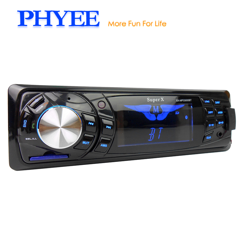 1 Din Bluetooth Car Radio Stereo Autoradio Audio System USB SD Aux Handsfree High Power In Dash Head Unit PHYEE SX-33000BY fixed panel 1 din bluetooth autoradio car mp3 player usb auto radio stereo indash head unit iso connectror sx 33000by