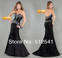2015 Hottest Black Prom Dresses Trumpet Merimaid Sweetheart Ruffle Satin Rhinestone Beads yk-8K014