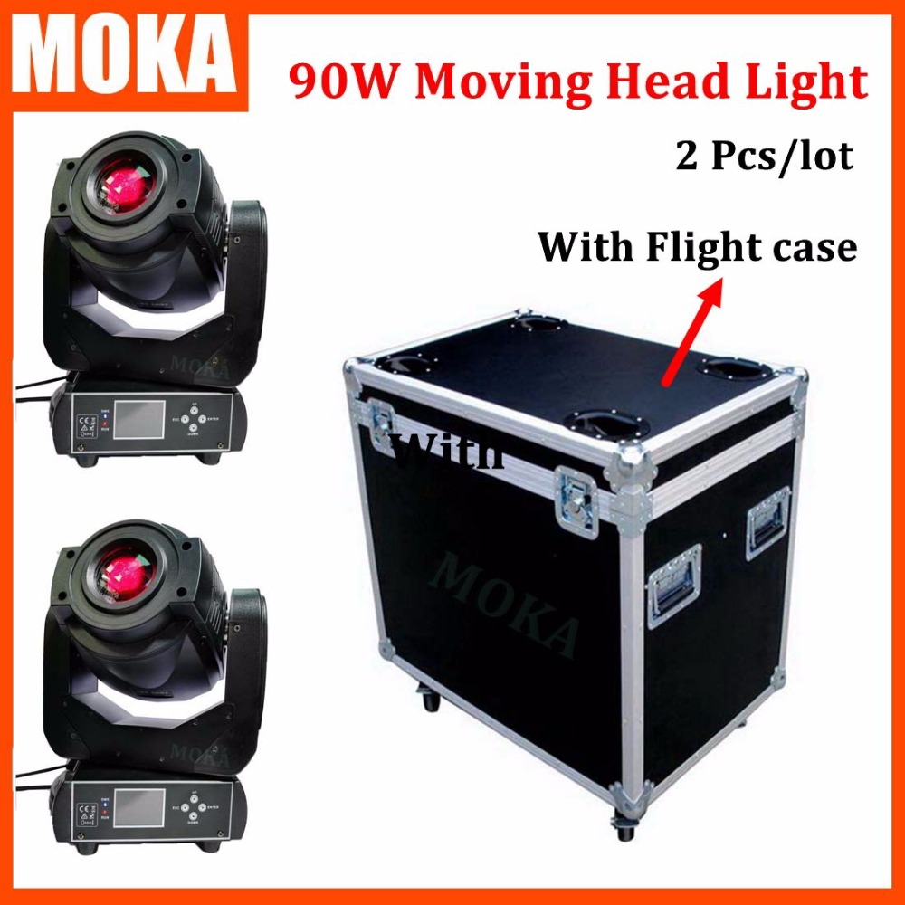 2 Pcs/lot new arrival 90W led moving head spot light+flight case double gobo wheel beam moving head light 8 Lens Dmx Stage Pro