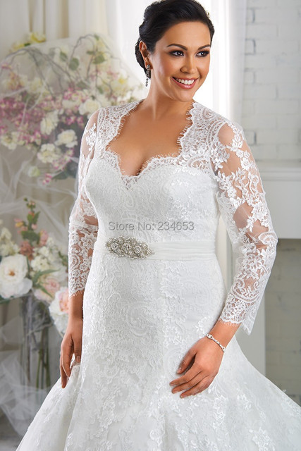 Sheer Lace Tulle Designer A line Plus Size Wedding Dress with ...