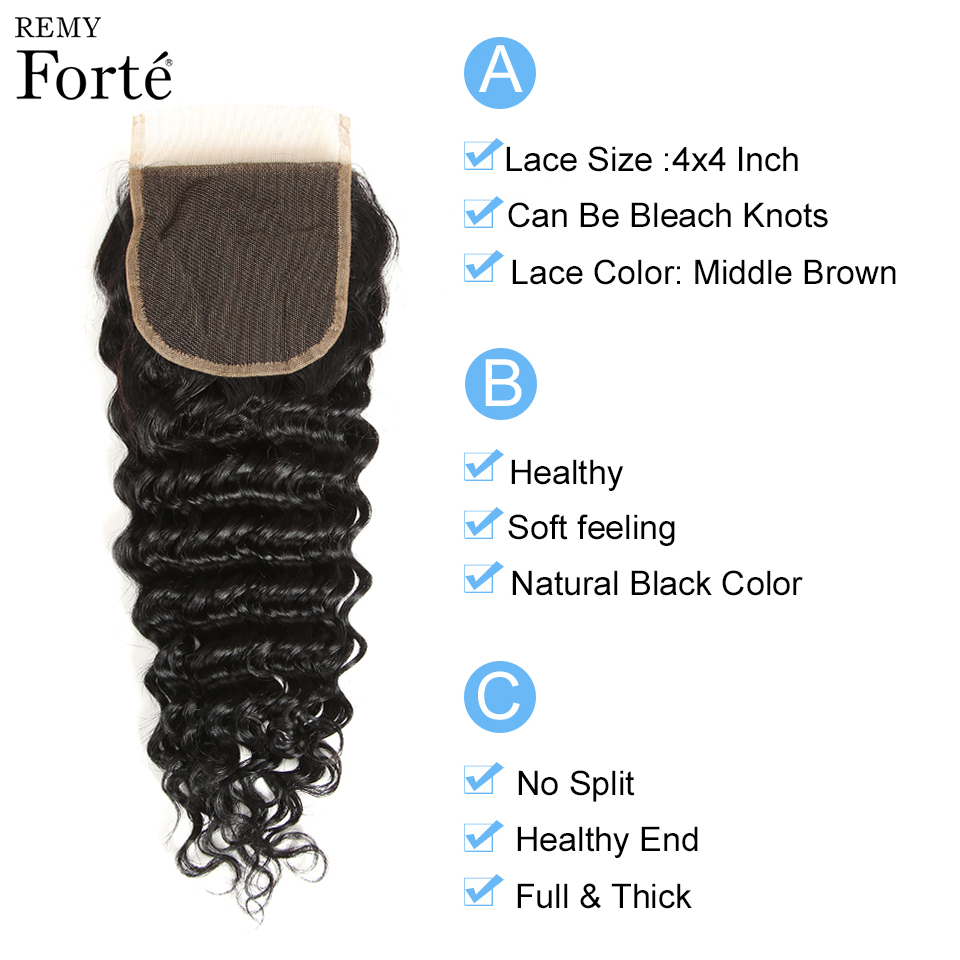 Big Sale∩Deep-Wave-Bundles Closure Brazilian-Hair Remy-Forte with Weave Fast
