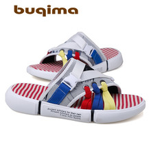 buqima Teenagers Summer Shoes New Mens Sandals Gladiator Open-toed Platform Outdoor Beach Coloured Roman