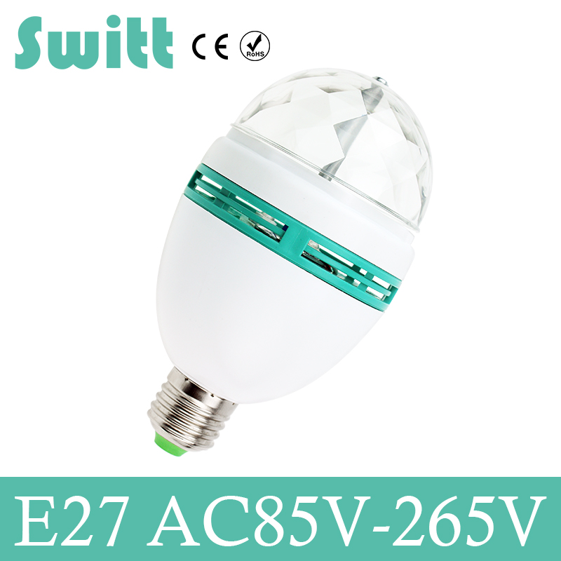 Switt LED Bulb Christmas E27 3W 110v 220v Colorful Rotating RGB projector Crystal led Stage Light Magic Ball DJ party disco Lamp