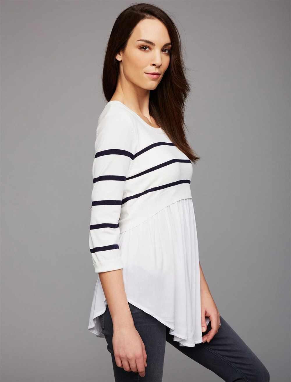 Femmes multi-fonctionnel allaitement enceinte chemise vêtements maman enceinte allaitement maternité à manches longues rayé Blouse vêtements