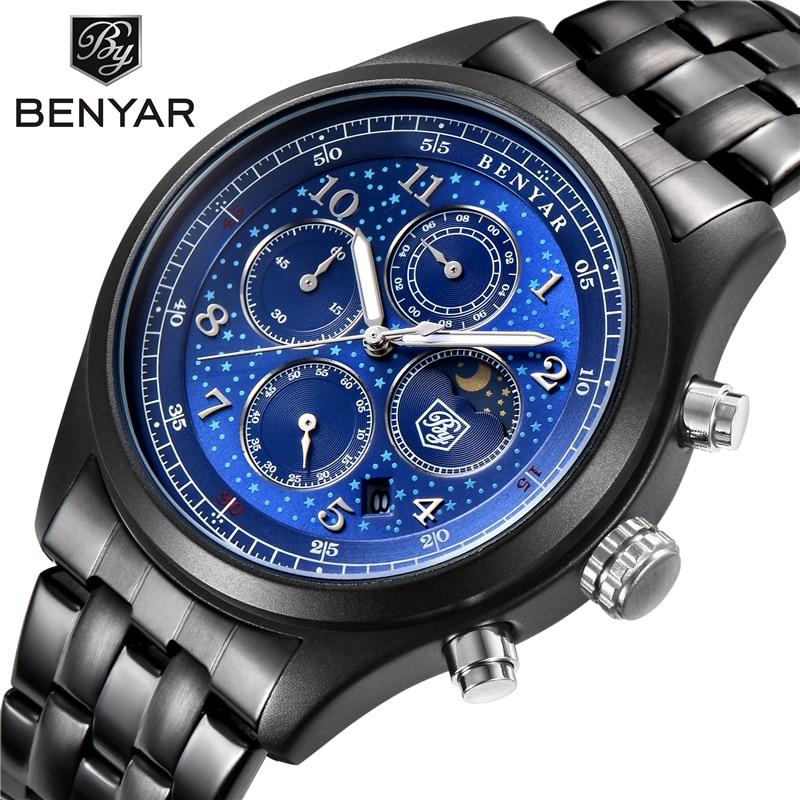 BENYAR Moon Phase Chronograph Watches Men Quartz Watches Black Dial Men's Sports Military Wrist Watch Male Clock Montre Homme benyar moon phase chronograph watch men