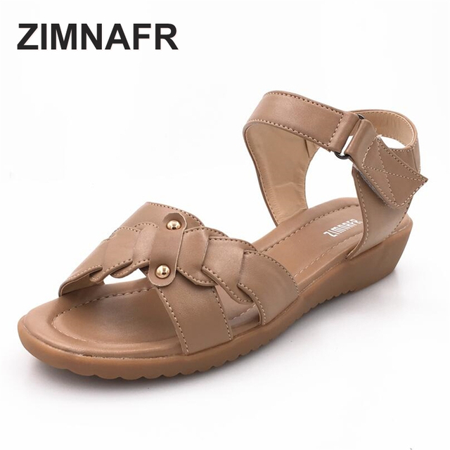 mom sandals 2017 Summer genuine leather flat heel women's sandals open-toed anti-skid  plus size cattle tendons female sandals