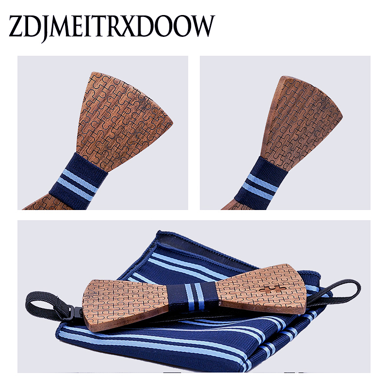 Wood Bowtie+Handkerchief+Cufflinks Sets for Mens Suit Wooden Bow Tie Bowknots Jigsaw puzzle Wedding Party Christmas tie