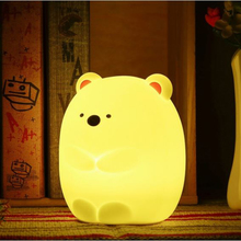 Lovely Night Light USB Charging LED Color Changeable Tapping Control Soft Hand Feeling Cartoon Night Lamp