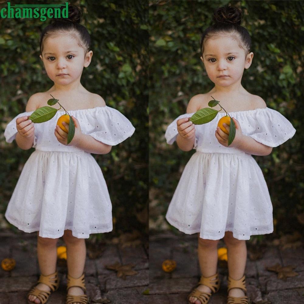 Eddie Juguete Store White Toddler Baby Girls Kids pattern lotus leaf collar Floral Princess Off-shoulder Dress Solid Sundress P30 vestidos st8
