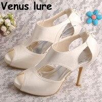 High Heeled Ivory Wedding Heels 4 inch Bridal Shoes Peep Toe Zipper Pumps