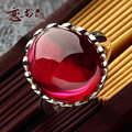 Natural semi-precious stones 925 Sterling Silver red corundum fashion Retro Red red finger rings special lady girlfriend gift