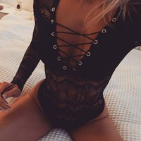 Sexy Mesh Lace Bodysuit Women Body Tops Autumn 2018 Long Sleeve Ladies Bodysuits Mujer Lace Up