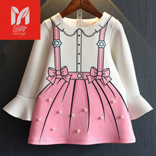 miaoyi Kids Clothes Girls Christmas Dress Cartoon Toddler Long Sleeve Dress With Bow Pearl Spring Autumn Infant Girls Dresses