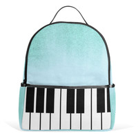 Piano Backpack Blue Music Notes Canvas Backpack School Bags for Teenage Girls Boys Gift 12inch Laptop Bag Summer Travel Bag