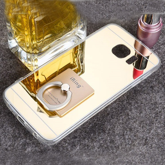 the latest d48ed 4d014 US $3.99 |Girl Makeup Mirror Case For Samsung Galaxy S6 Edge Plus 5.7'  Diamond Metal Ring Holder Stand Back Cover Tpu Bling Cat Fur Case-in  Rhinestone ...