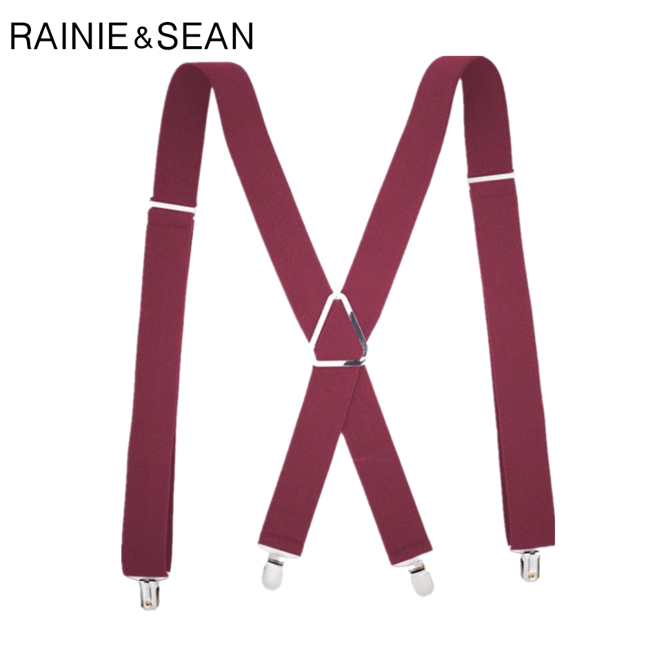 RAINIE SEAN Red Suspenders For Men Mens Suspenders Braces 4 Clips Adjustable Trousers Belt 120cm Suspenders Man For Pants