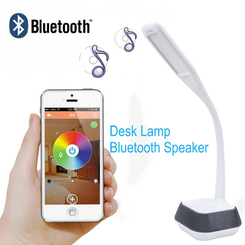 Artpad Flexible Gooseneck LED Bureau Desktop Lamp 12W Touch Dimmer Table Lamps with Bluetooth Speaker for Bedroom Office Study