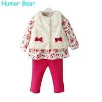 Humor Bear Baby Girls Clothing 3Pcs Set For Winter Long Sleeve Shirt+Leopard Pants+Fleece Vest Children Brand Clothing Suit