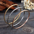 Kalen Fashion Women Multi-Strand Jewelry 3pcs Tri-Color Silver Color Gold Rose Gold Plated Stainless Steel Bangle Bracelet Gift