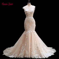 Amdml Romantic Scoop Neck Backless Princess Mermaid Wedding Dress 2017 Gorgeous Appliques Robe De Mariage Bride