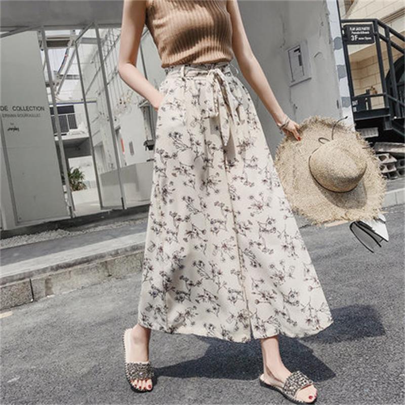 Chiffon high waist   wide     leg     pants   female summer gentle retro style big   pants   students drape black fashion big feet   pants