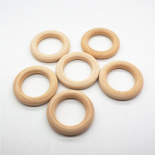 Chenkai 50pcs 55mm 2.75 baby Wooden Teether Ring Nature Teething infant shower pacifier dummy chewing sensory 5.5cm toy