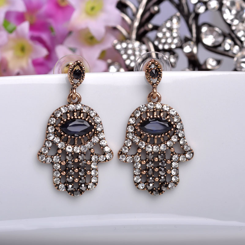 Turkish Jewelry Palm Resin Drop Earrings Antique Gold color Big Eye Vintage  Full Crystal Earrings For Women Brincos Lovely Gifts-in Drop Earrings from
