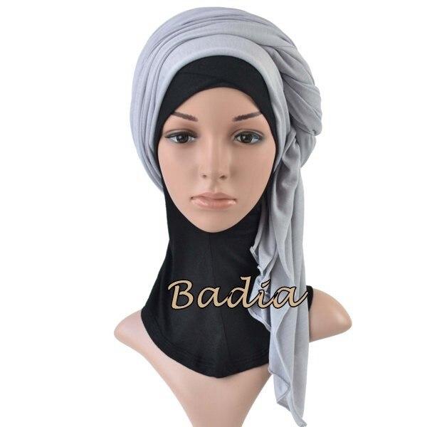 Один кусок Хиджаб Женский вискозный Джерси-шарф Мусульманский Исламский сплошной простой Джерси хиджабы Макси шарфы мягкие шали 70x160 см