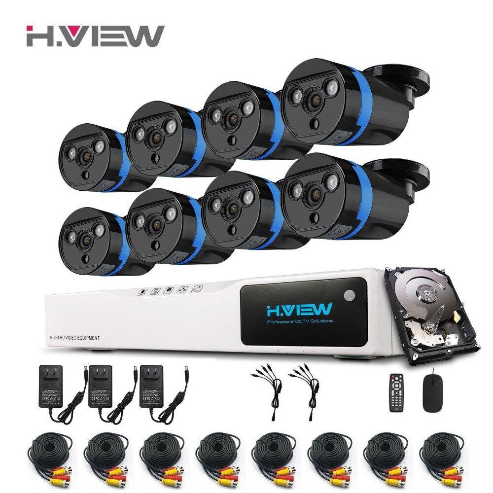 H. view 8 PCS 1080 P Ao Ar Livre Câmera de Segurança do SISTEMA de Vigilância Kit Super Visão Noturna 8 Kit Canal DVR AHD Câmera de 1 TB HDD