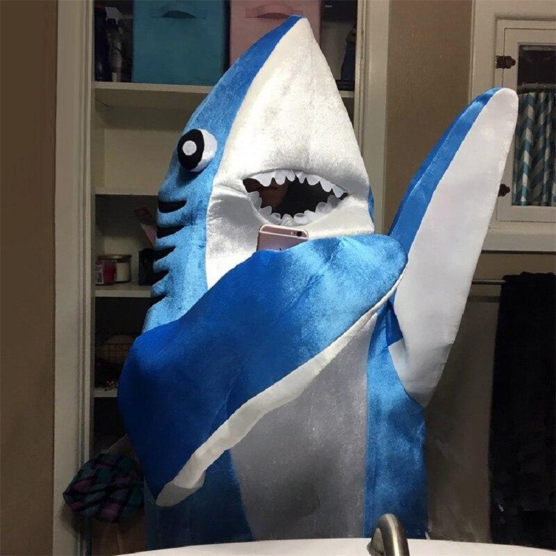 Взрослый синий костюм акулы талисмана, маскарадный костюм, костюм на Хэллоуин, Рождество, костюм голодной акулы - 6