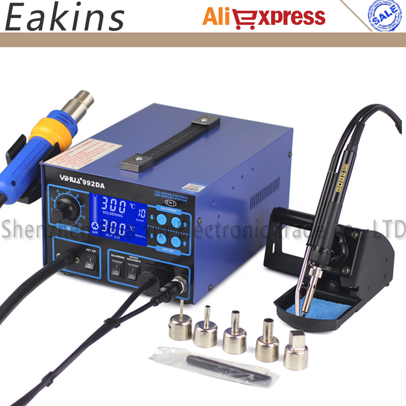 цена на YIHUA 992DA 3 In 1 Digital Display Hot Air Rework Soldering Iron Soldering Station BGA Soldering Rework Station