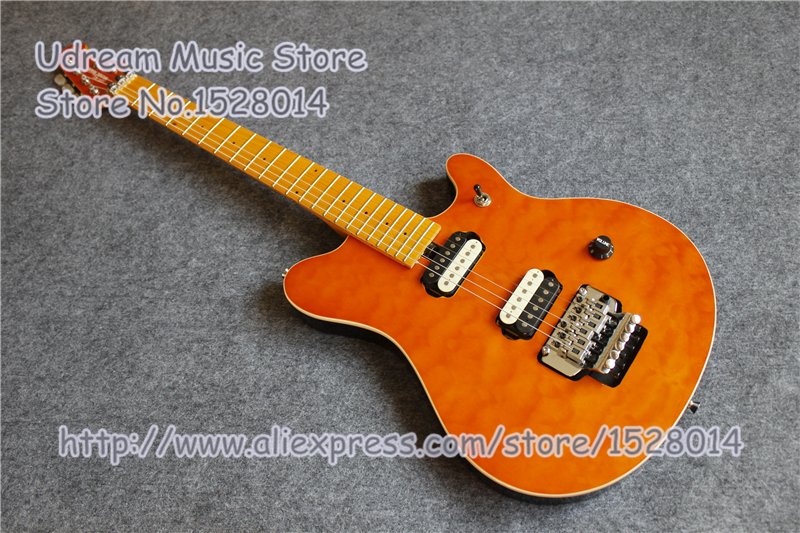 High Quality Orange Quilted Finish Suneye Music Man Ernie Ball Electric Guitar With Chrome Hardware For Sale