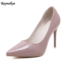 цена Women Pumps Pointed Toe High Heel Female 2018 Fashion OL Heels Shoes Women Red Black Sliver Pumps Shoes Size 34-44 MS-B0021 онлайн в 2017 году