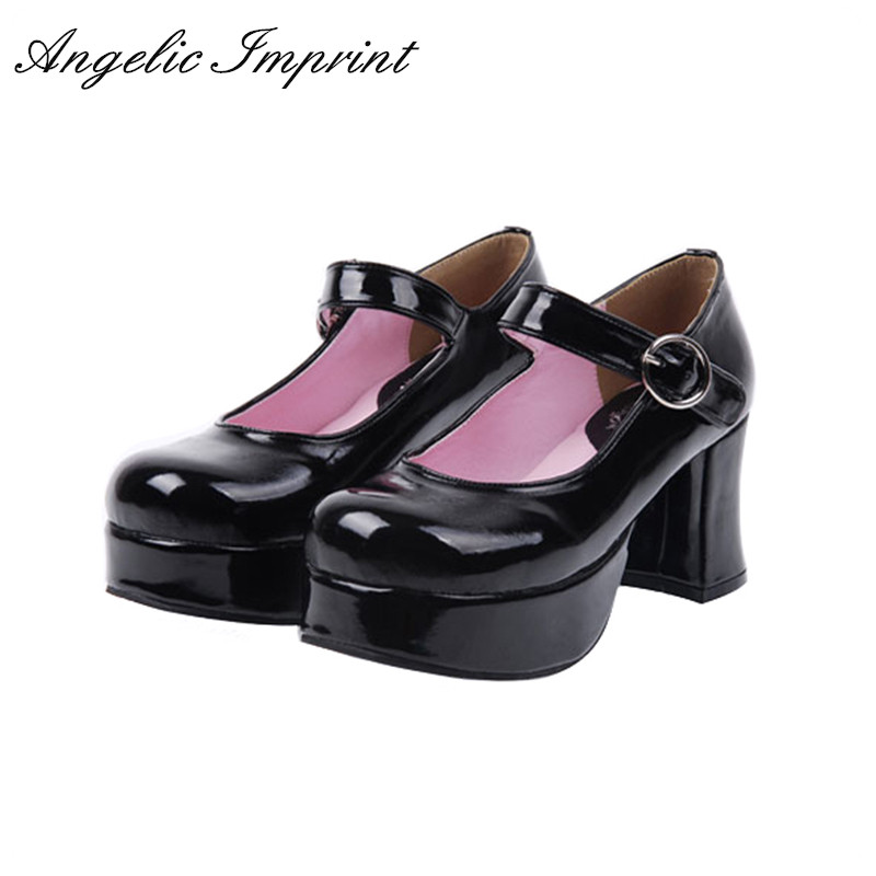 Japanese Lolita Shoes 7.5cm Chunky High Heel Thick Platform Queen Mary Jane Pumps princess sweet lolita shoes japanese design customized special shaped black matt tie platform heel shoes 8528x