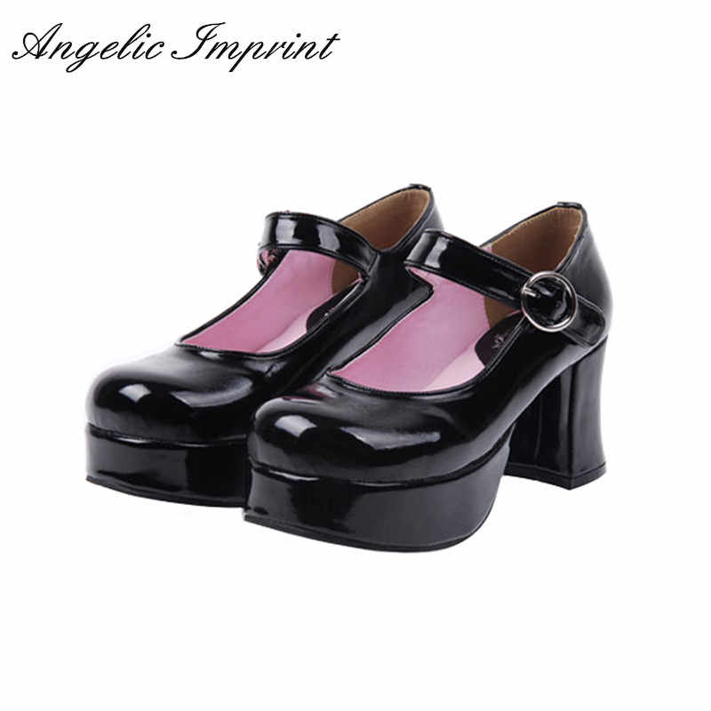 Gothic Lolita Cosplay T-Strap Mary Jane Thick Platform Heel Pump Wedge Shoes