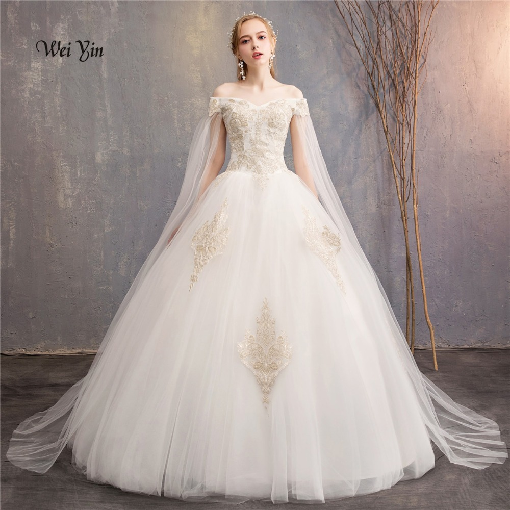 Weiyin Lace Appliques Ball Gown Cheap Wedding Dresses 2018