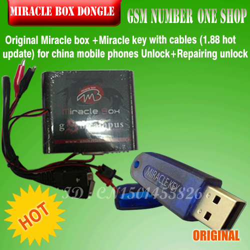 Free ship 2016 Original Miracle box +Miracle key with cables (1.88 hot update) for china mobile phones Unlock+Repairing unlock