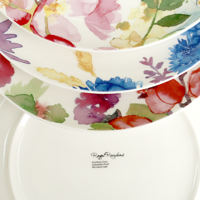 Creative Decorative watercolor floral bone china plate dish ceramic  tableware on-glazed round dessert plates salad fruit dishes