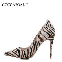 COCOAFOAL женщина 10 см обувь на сверхвысоком каблуке плюс Размеры Большие размеры 33–43 вечерние свадебные туфли-лодочки зебры Остроносые пикант...