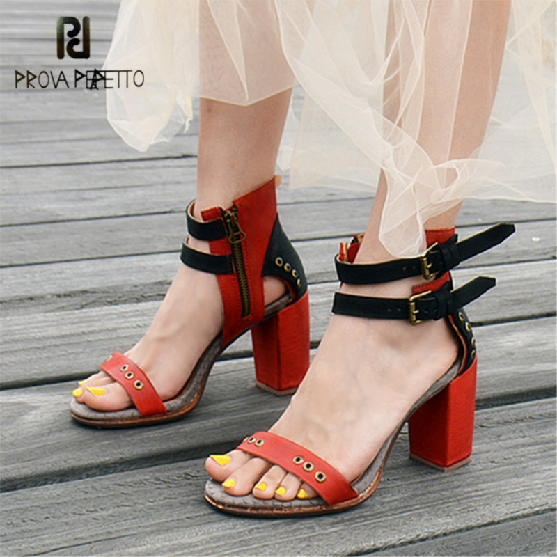 Prova Perfetto 2018 Summer Women Sandals Mixed Color Chunky High Heels Rivets Studded Ankle Straps Gladiator Sandal Women Pumps prova perfetto design women gladiator sandals summer boots sexy chunky high heels hollow out strap sandal women pumps ankle boot