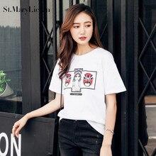 St.MaryLiclan New Fashion Women T Shirts Short Sleeve women facial makeup T-Shirts Female Retro facebook Tops Tee Beijing Opera