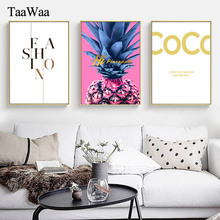TaaWaa Golden Quote Pink Pineapple Canvas Wall Art Poster Nordic Fashion Style Decorative Painting For Living Room