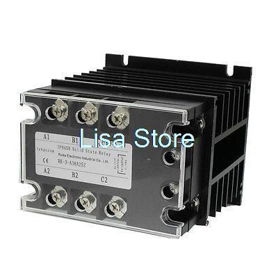 Control 90-280VAC Load 380VAC 25A SSR Solid State Relay w Heat Sink Mygaa