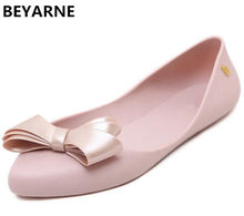 503a3ce207d BEYARNE woman flats sandals jelly shoes bowtie pointed toe lady summer beach  travel shoes female rain shoes candy color 36-41 40