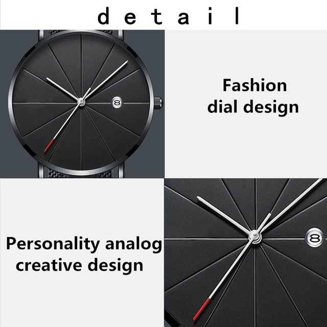 Sports Mens Watches Business Leisure Quartz WristWatch Stainless Steel Mesh Strap Ultra Thin Dial Date Clock Relogio Masculino 1